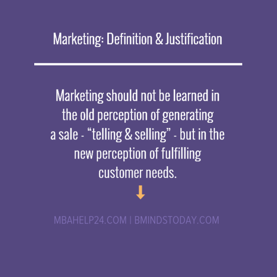 Marketing: Definition & Justification Marketing Definition